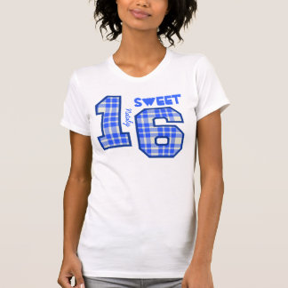 Sweet Sixteeen 16 Birthday PLAID Custom Name V94F T-shirts