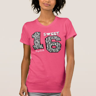 Sweet Sixteeen 16 Birthday Zebra Custom Name V81 T Shirt