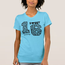 Sweet Sixteeen 16 Birthday Zebra Custom Name V93 T-Shirt