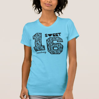 Sweet Sixteeen 16 Birthday Zebra Custom Name V93 T-Shirt