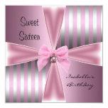 Sweet Sixteen16th Birthday Satin Pink Stripe Bow Invite