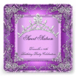 Sweet Sixteen 16 16th Birthday Party Purple Personalized Invitation