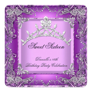 Sweet Sixteen 16 16th Birthday Party Purple 5.25x5.25 Square Paper Invitation Card