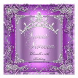Sweet Sixteen 16 16th Birthday Party Purple Personalized Announcement