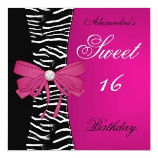 "Sweet Sixteen 16 16th Bright Pink Zebra Black Bow 5.25"" Square Invitation Card"
