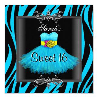 "Sweet Sixteen 16 Birthday Blue Zebra Black Dress 5.25"" Square Invitation Card"