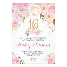 sweet sixteen 16 birthday Floral Invitation, Card
