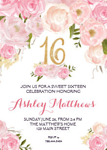 Sweet 16 invitations zazzle sweet sixteen 16 birthday floral invitation card filmwisefo Images