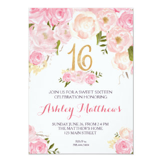 sweet sixteen 16 birthday Floral Invitation, Card