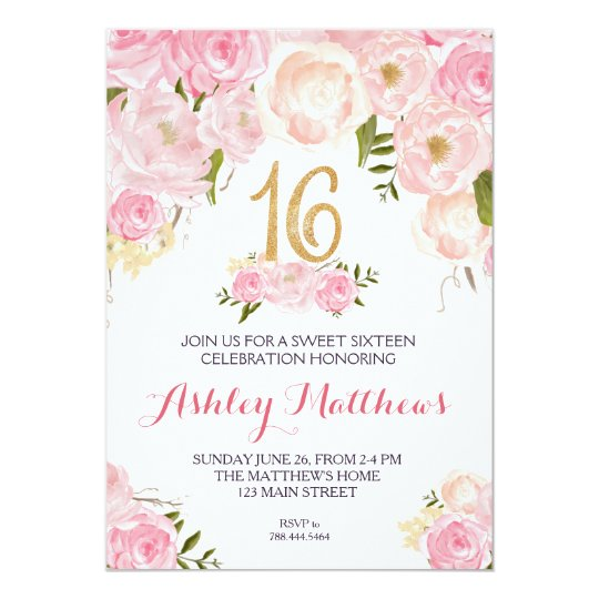 Sweet Sixteen 16 Birthday Floral Invitation Card Zazzle Com