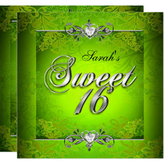 Sweet Sixteen 16 Birthday Lime Green Silver Card