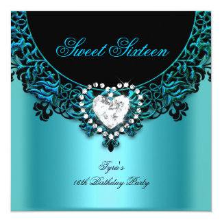 Sweet Sixteen 16 Birthday Party Aqua Blue Teal Card