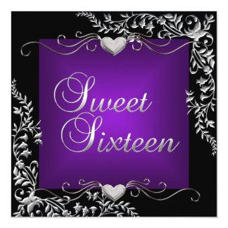 Sweet Sixteen 16 Birthday Party Black Purple Card