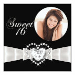 "Sweet Sixteen 16 Birthday Party Black White 5.25"" Square Invitation Card"