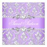 Sweet Sixteen 16 Birthday Party Damask Lilac 5.25x5.25 Square Paper Invitation Card