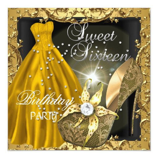 sweet sixteen 16 birthday party gold dress gown card
