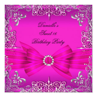 Sweet Sixteen 16 Birthday Party Hot Pink Silver Card