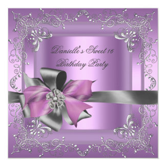 Sweet Sixteen 16 Birthday Party Lilac Pink Silver Invite