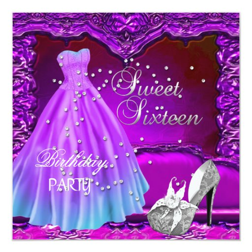 Sweet Sixteen 16 Birthday Party Purple Dress Gown