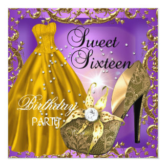 Sweet Sixteen 16  Birthday Party Purple Gold Dress Card