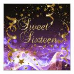 "Sweet Sixteen 16 Birthday Party Purple Gold Stars 5.25"" Square Invitation Card"