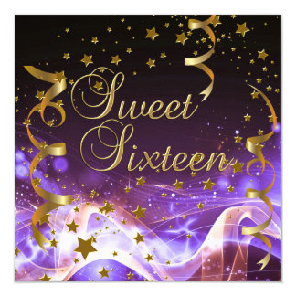 Sweet Sixteen 16 Birthday Party Purple Gold Stars 5.25x5.25 Square Paper Invitation Card