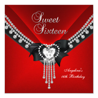 Sweet Sixteen 16 Birthday Party Red Black Diamond 5.25x5.25 Square Paper Invitation Card