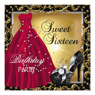 Sweet Sixteen 16  Birthday Party Red Gold Dress Card