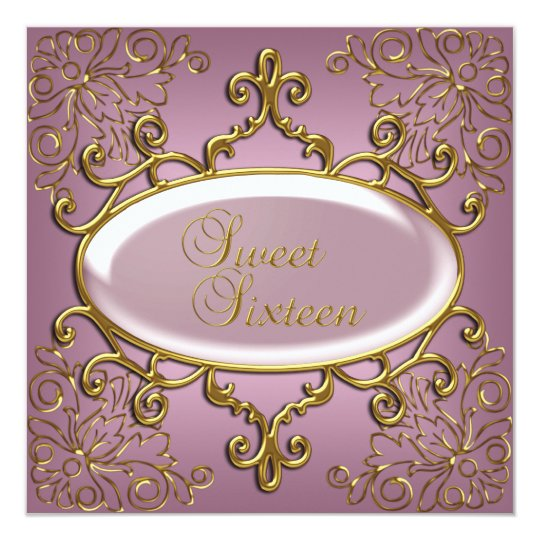 Sweet Sixteen 16 Birthday Party Royal Gold Pink Card
