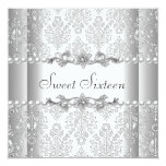 "Sweet Sixteen 16 Birthday Party Silver White Pearl 5.25"" Square Invitation Card"