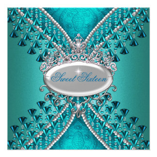 Sweet Sixteen 16 Birthday Party Teal Blue Beads Personalized Invitation