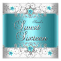 Sweet Sixteen 16 Birthday Party Teal Blue Diamond Announcement