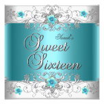 Sweet Sixteen 16 Birthday Party Teal Blue Diamond Announcement