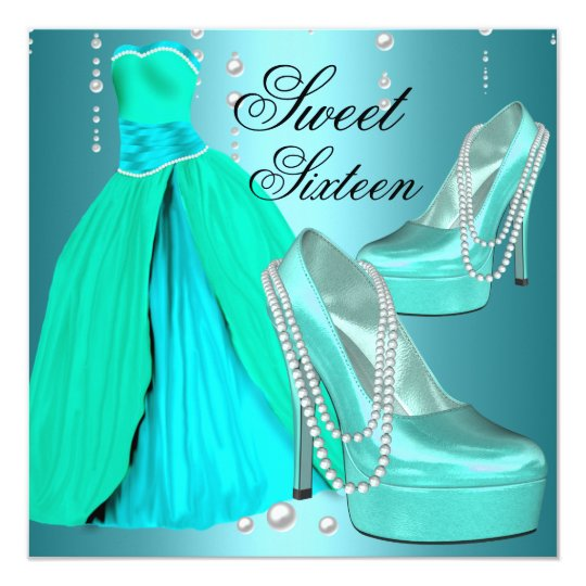 Sweet Sixteen 16 Birthday Party Teal Blue Dress Card