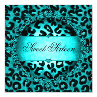 Sweet Sixteen 16 Birthday Party Teal Blue Leopard Card