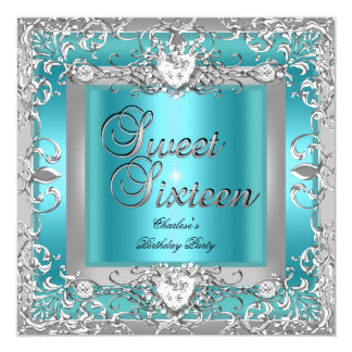 Sweet Sixteen 16 Birthday Party Teal Blue Silver Card