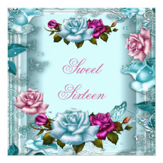 Sweet Sixteen 16 Birthday Party Teal Pink Roses 2 Personalized Invitation