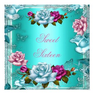Sweet Sixteen 16 Birthday Party Teal Pink Roses 3 Personalized Invitations