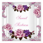 """Sweet Sixteen 16 Birthday Party White Pink Roses 5.25"""" Square Invitation Card"""