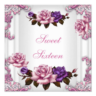 "Sweet Sixteen 16 Birthday Party White Pink Roses 5.25"" Square Invitation Card"