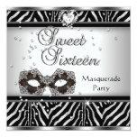 Sweet Sixteen 16 Birthday Party Zebra Masquerade Invite