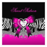 Sweet Sixteen 16 Birthday Party Zebra Pink Black Invites