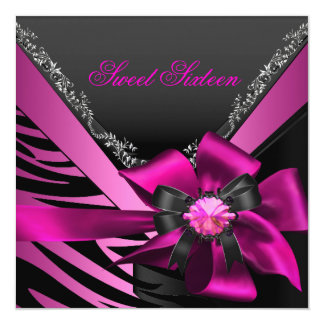 "Sweet Sixteen 16 Birthday Party Zebra Pink Black 5.25"" Square Invitation Card"