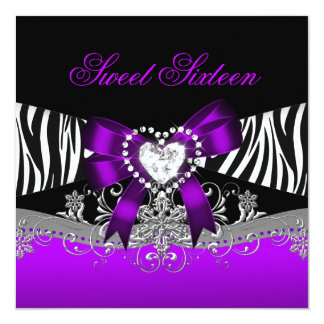 Sweet Sixteen 16 Birthday Party Zebra Purple Black 5.25x5.25 Square Paper Invitation Card