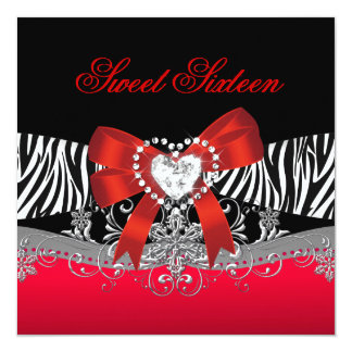 Sweet Sixteen 16 Birthday Party Zebra Red Black Card