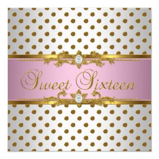Sweet Sixteen 16 Birthday Pink White Gold Spot Card