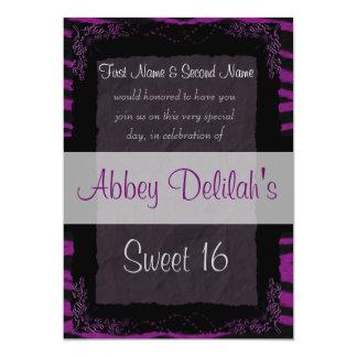 Sweet Sixteen 16  Birthday Puple Zebra Print Announcements