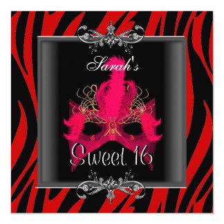 Sweet Sixteen 16 Birthday Red  Zebra Black Mask Card