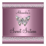 Sweet Sixteen 16 Birthday Satin Pink Butterfly Custom Invitations