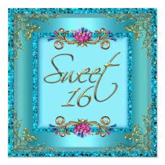 Sweet Sixteen 16 Birthday Teal Blue Gold Floral Announcement